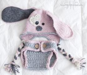 Puppy Hat and Diaper Cover Set- Baby Girl- Newborn Photo Prop- Crochet- Gift- Baby- Dog Hat