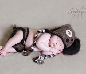 Puppy Hat and Diaper Cover Set- Baby Boy- Newborn Photo Prop- Dog Hat-Crochet- Gift- Baby- All Sizes