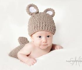 Boy Bear Hat and Diaper Cover Set with Tail - Crochet- Photo Prop- Costume- Newborn Crochet Hat- Baby Crochet Hat