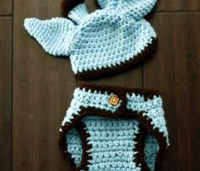 Crochet Baby Giraffe Hat and Diaper Cover Set - Costume - Baby Crochet Hat - Newborn Hat - Photo Prop