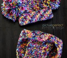 Baby Pom Pom Hat and Matching Diaper Cover Set - Newborn Photo Prop Crochet Hat- Costume