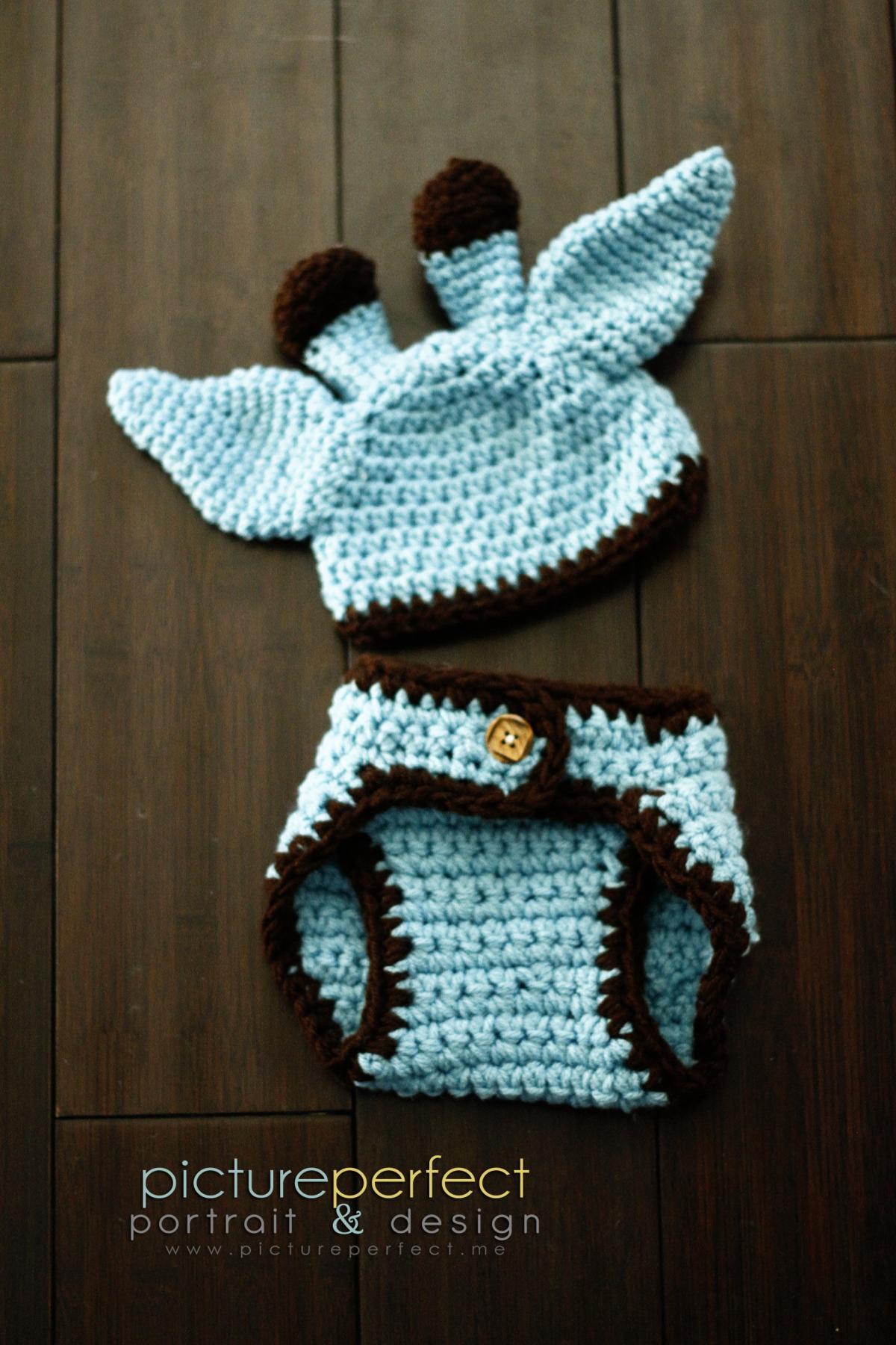 Baby Giraffe Hat Knitting Pattern : Crochet Baby Giraffe Hat And Diaper Cover Set - Costume ...