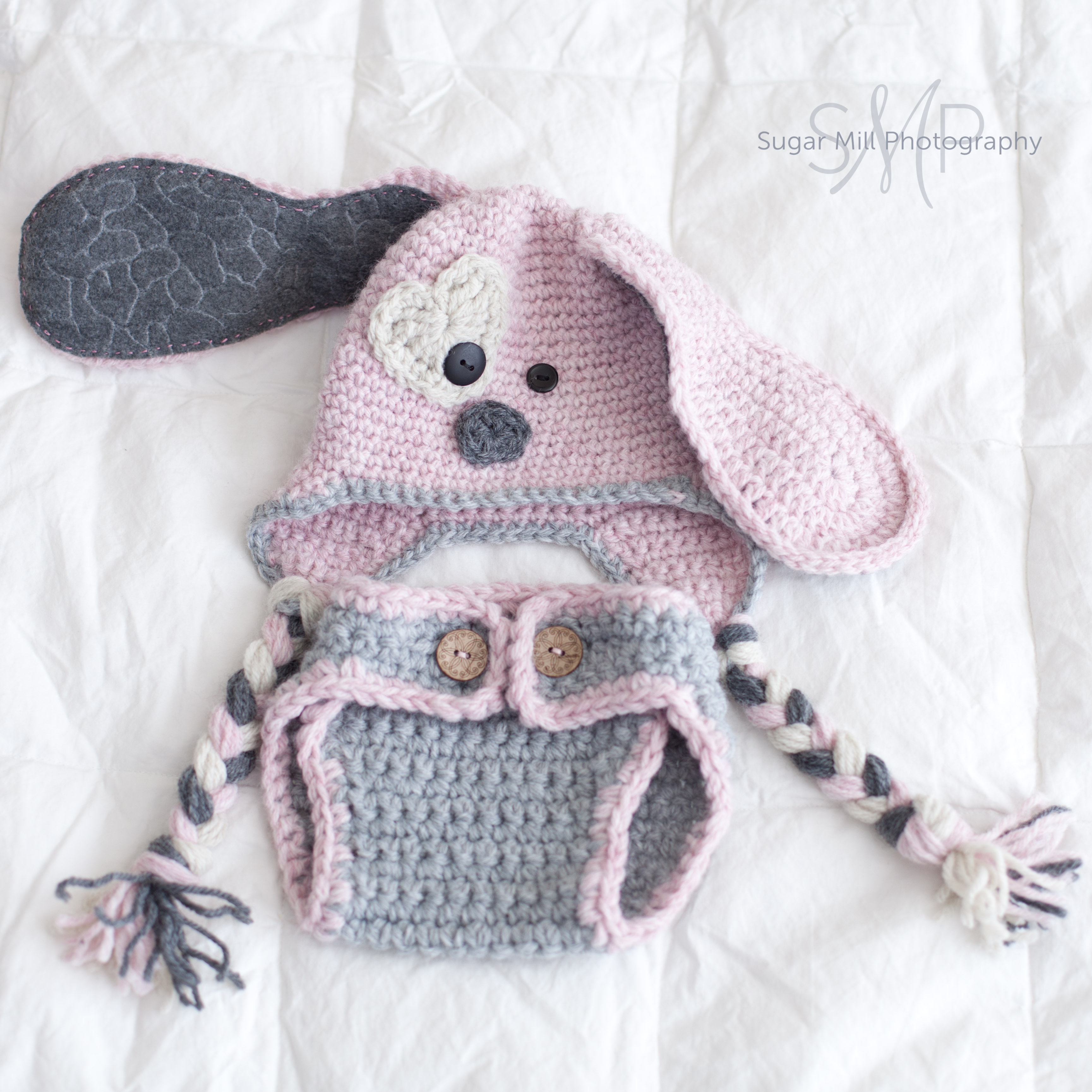 Crochet Dog Hat And Diaper Cover Pattern : Puppy Hat And Diaper Cover Set- Baby Girl- Newborn Photo ...
